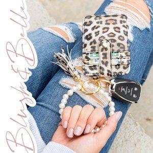 Pearl Key Ring Bracelet Wallet w/ Tassel LEOPARD